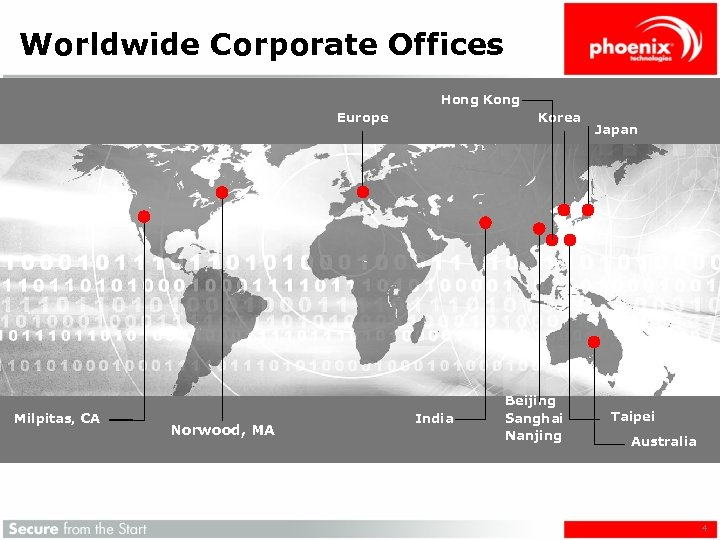 Worldwide Corporate Offices Hong Kong Europe Milpitas, CA Norwood, MA Korea India Beijing Sanghai