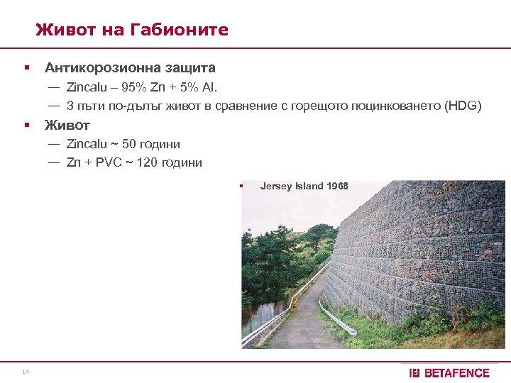 Живот на Габионите § Антикорозионна защита — Zincalu – 95% Zn + 5% Al.