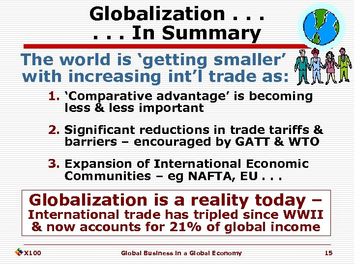 Globalization. . . In Summary The world is 'getting smaller' with increasing int'l trade