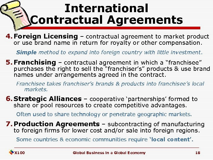 International Contractual Agreements 4. Foreign Licensing – contractual agreement to market product or use