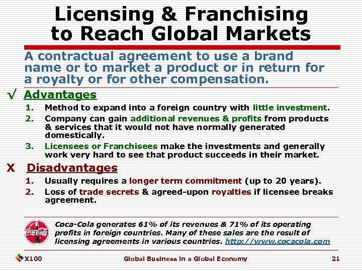Licensing & Franchising to Reach Global Markets A contractual agreement to use a brand