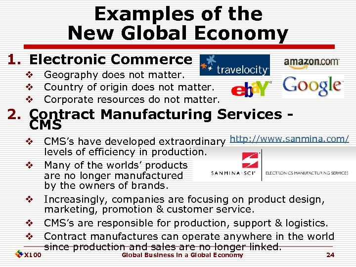 Examples of the New Global Economy 1. Electronic Commerce v v v Geography does