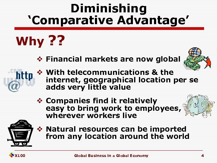 Diminishing 'Comparative Advantage' Why ? ? v Financial markets are now global v With