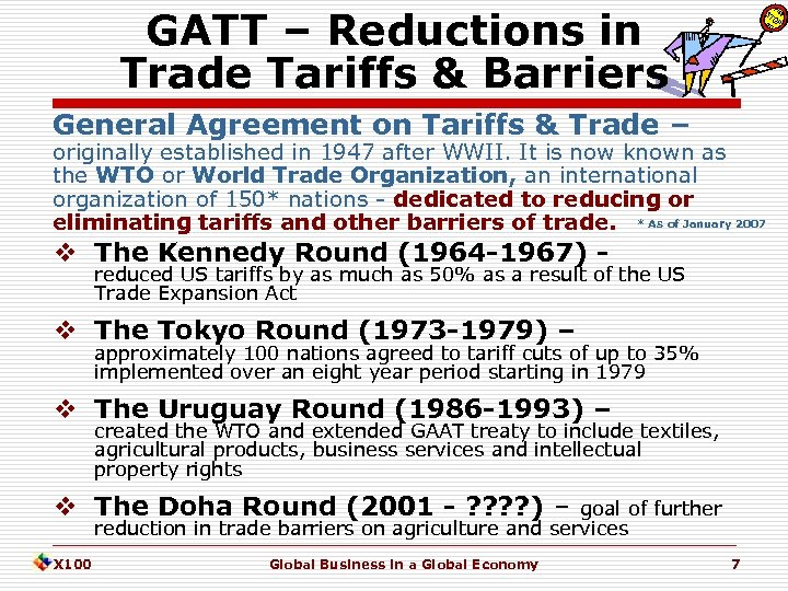 GATT – Reductions in Trade Tariffs & Barriers General Agreement on Tariffs & Trade