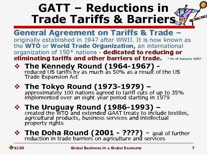 GATT – Reductions in Trade Tariffs & Barriers General Agreement on Tariffs & Trade