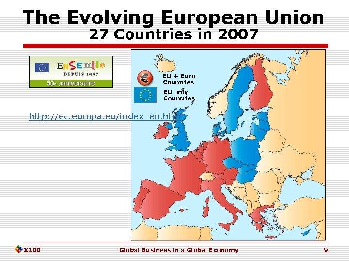 The Evolving European Union 27 Countries in 2007 EU + Euro Countries EU only