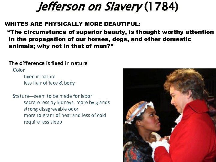 "Jefferson on Slavery (1784) WHITES ARE PHYSICALLY MORE BEAUTIFUL: ""The circumstance of superior"