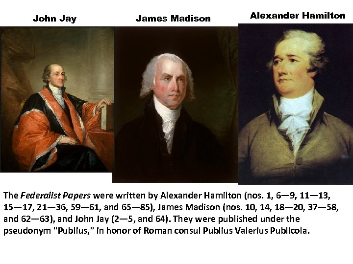 John Jay James Madison Alexander Hamilton The Federalist Papers were written by Alexander Hamilton