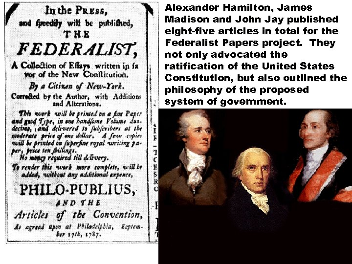 Alexander Hamilton, James Madison and John Jay published eight-five articles in total for the