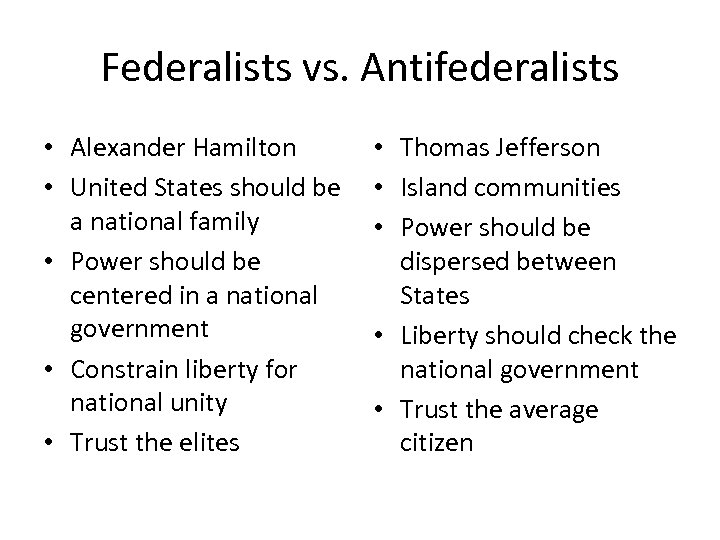 Federalists vs. Antifederalists • Alexander Hamilton • United States should be a national family