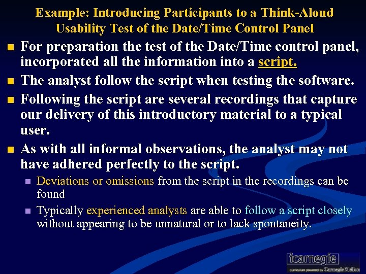 Example: Introducing Participants to a Think-Aloud Usability Test of the Date/Time Control Panel n