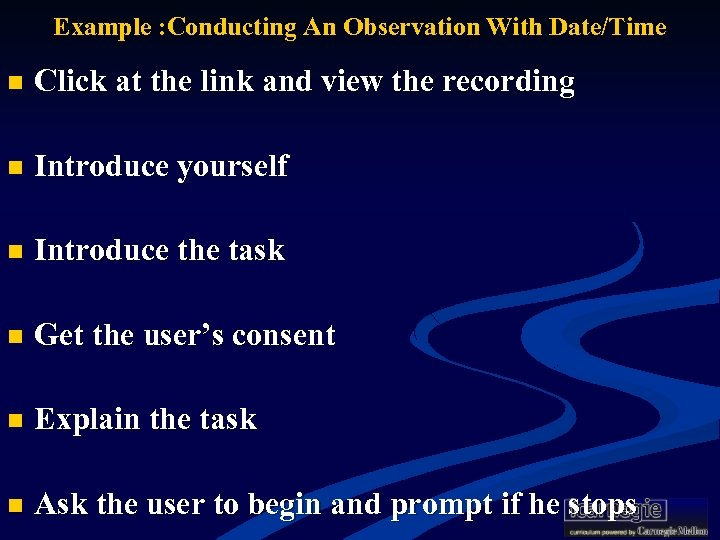 Example : Conducting An Observation With Date/Time n Click at the link and view
