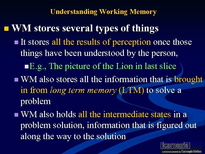 Understanding Working Memory n WM stores several types of things n It stores all