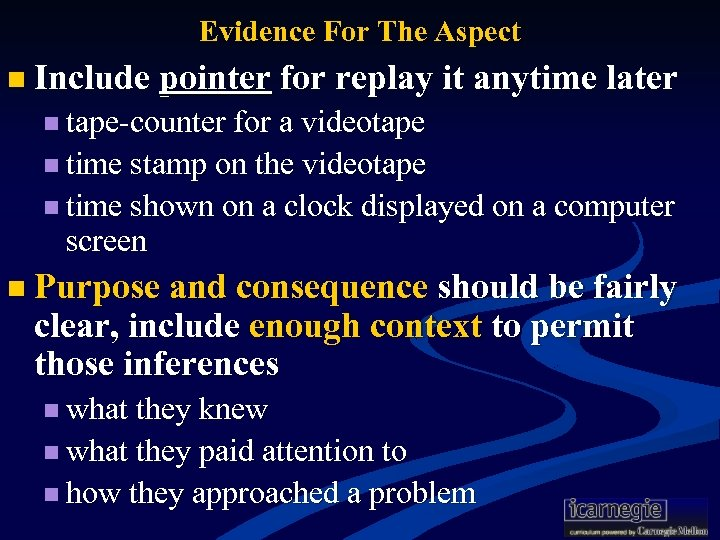 Evidence For The Aspect n Include pointer for replay it anytime later n tape-counter