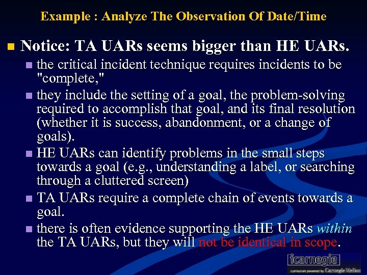 Example : Analyze The Observation Of Date/Time n Notice: TA UARs seems bigger than