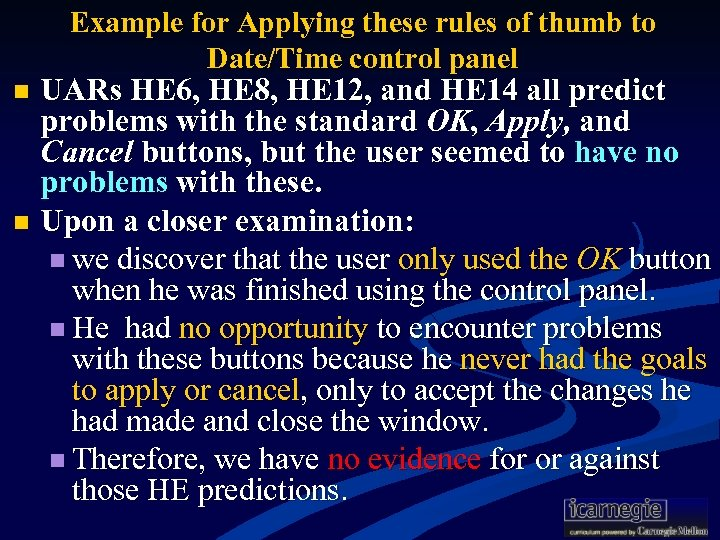 Example for Applying these rules of thumb to Date/Time control panel UARs HE 6,