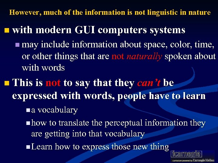 However, much of the information is not linguistic in nature n with modern GUI