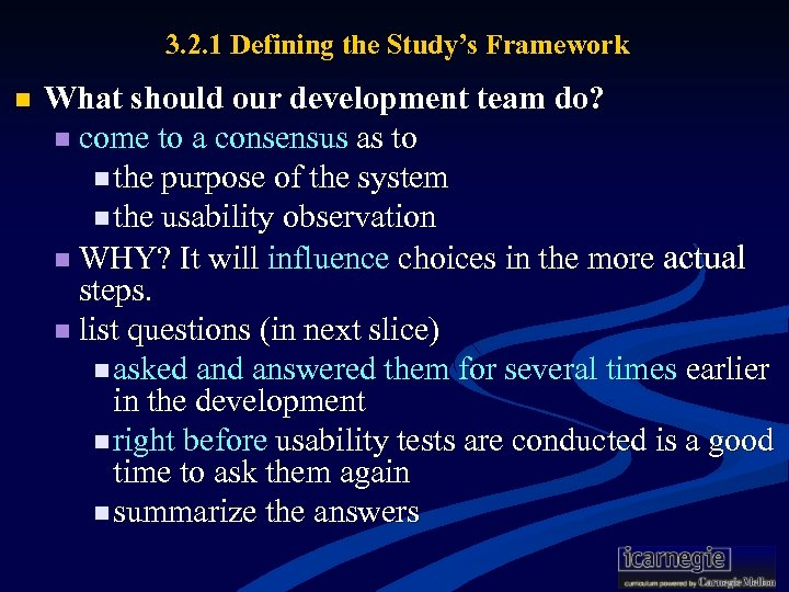 3. 2. 1 Defining the Study's Framework n What should our development team do?