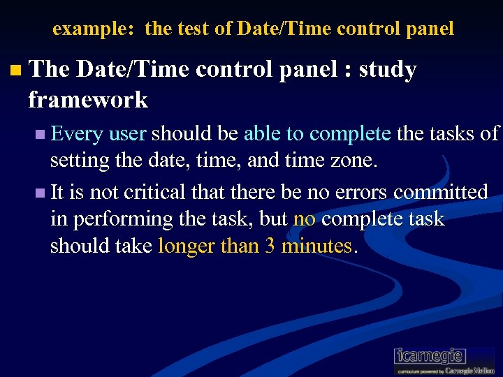 example: the test of Date/Time control panel n The Date/Time control panel : study