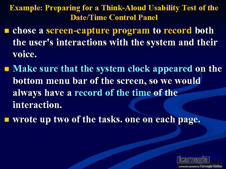 Example: Preparing for a Think-Aloud Usability Test of the Date/Time Control Panel chose a