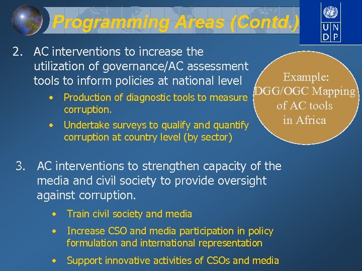 Programming Areas (Contd. ) 2. AC interventions to increase the utilization of governance/AC assessment