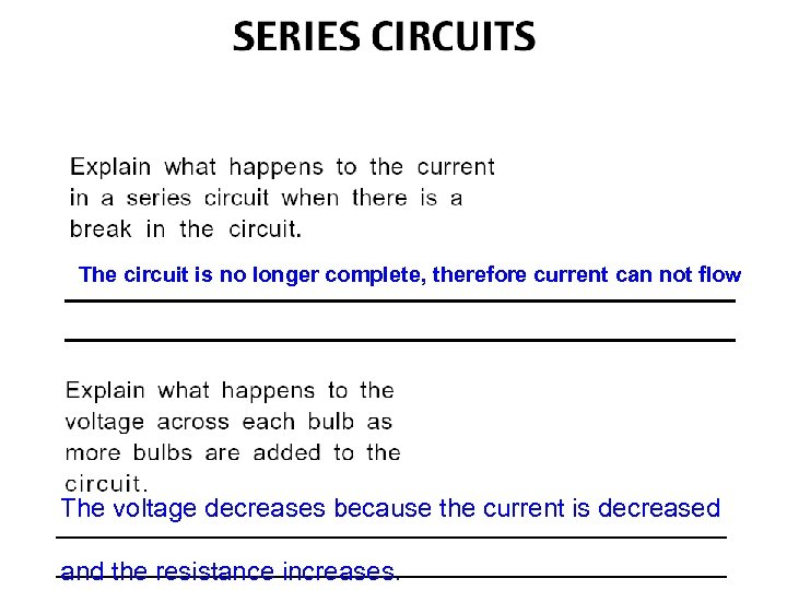 The circuit is no longer complete, therefore current can not flow The voltage decreases