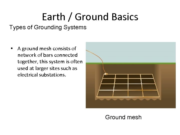 Earth / Ground Basics Types of Grounding Systems • A ground mesh consists of