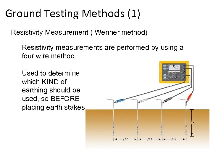 Ground Testing Methods (1) Resistivity Measurement ( Wenner method) Resistivity measurements are performed by