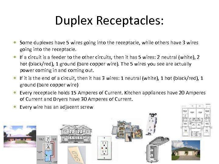Duplex Receptacles: Some duplexes have 5 wires going into the receptacle, while others have