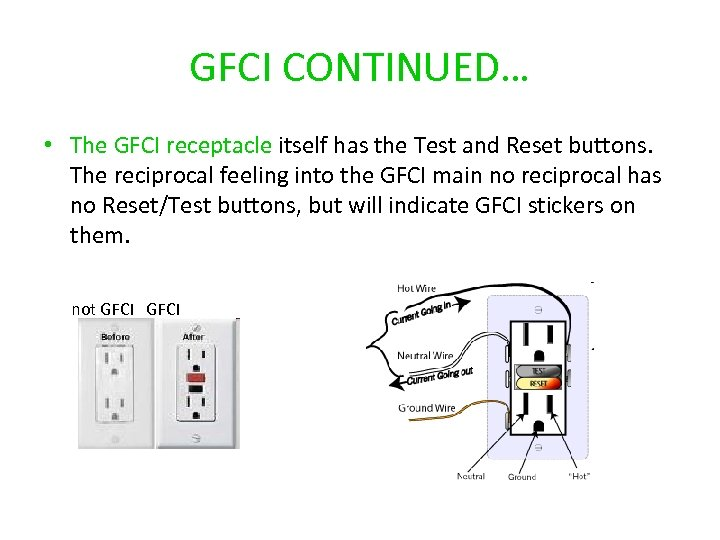 GFCI CONTINUED… • The GFCI receptacle itself has the Test and Reset buttons. The
