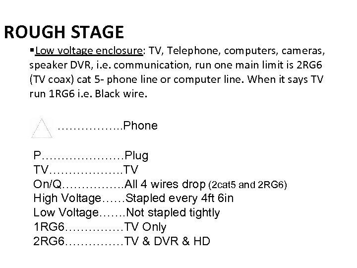 ROUGH STAGE §Low voltage enclosure: TV, Telephone, computers, cameras, speaker DVR, i. e. communication,