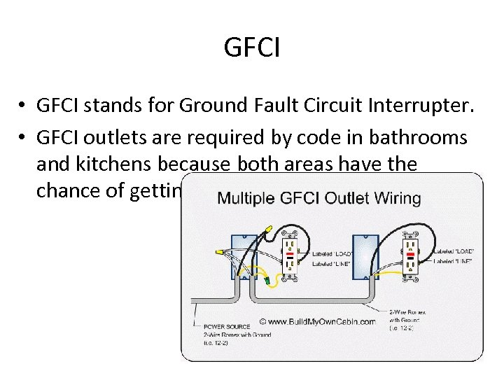 GFCI • GFCI stands for Ground Fault Circuit Interrupter. • GFCI outlets are required