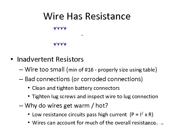 Wire Has Resistance 12 VDC 0. 1 Ώ 10 A 0. 1 Ώ V
