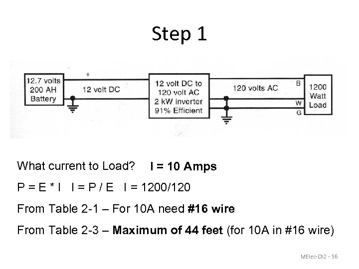 Step 1 B What current to Load? I = 10 Amps P = E