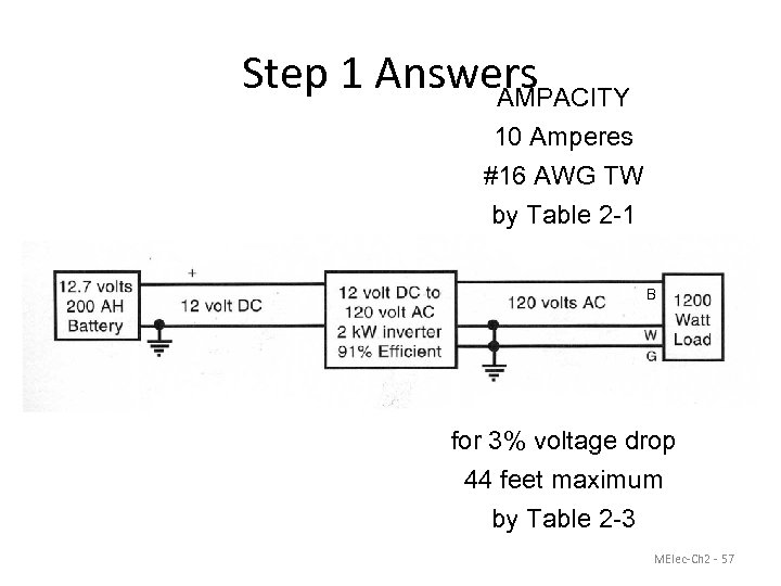 Step 1 Answers AMPACITY 10 Amperes #16 AWG TW by Table 2 -1 B