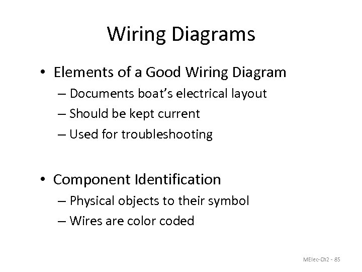 Wiring Diagrams • Elements of a Good Wiring Diagram – Documents boat's electrical layout