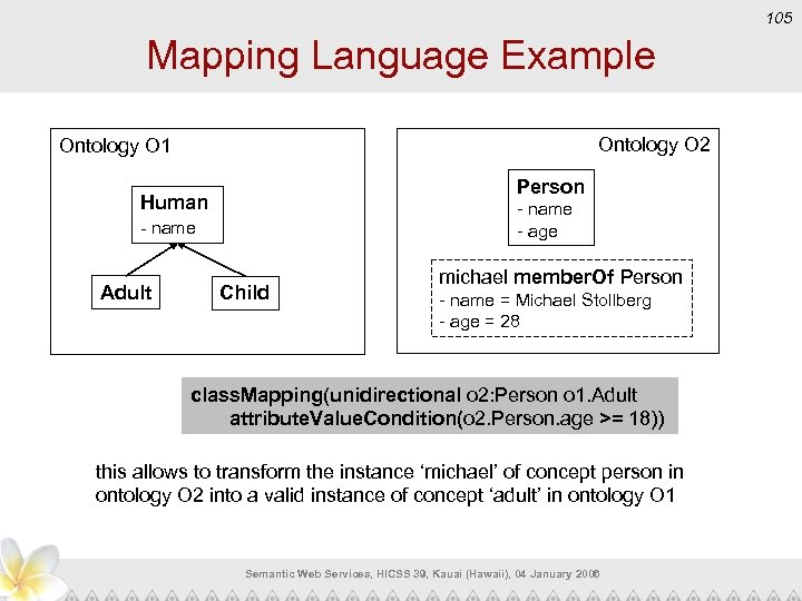 105 Mapping Language Example Ontology O 2 Ontology O 1 Person Human - name