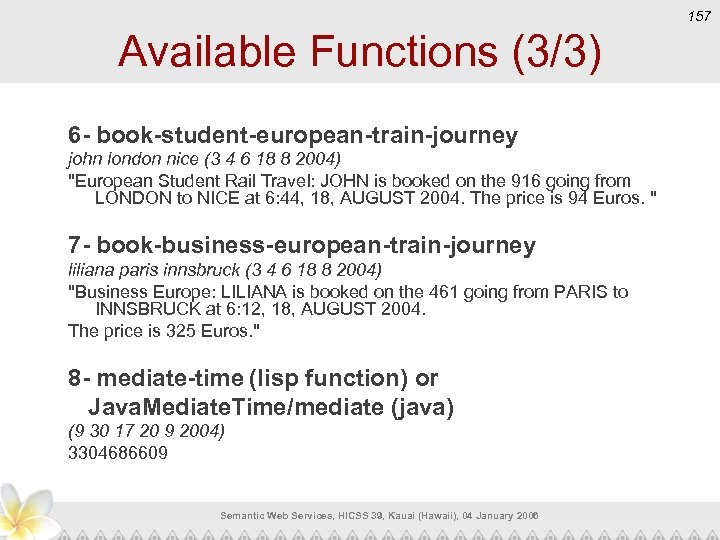 157 Available Functions (3/3) 6 - book-student-european-train-journey john london nice (3 4 6 18