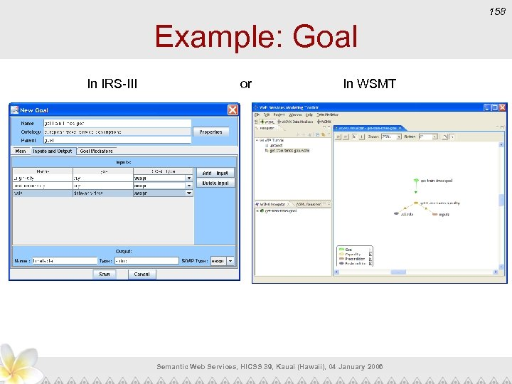 158 Example: Goal In IRS-III or In WSMT Semantic Web Services, HICSS 39, Kauai