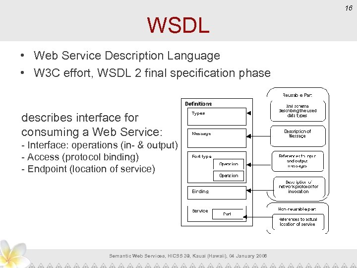 16 WSDL • Web Service Description Language • W 3 C effort, WSDL 2
