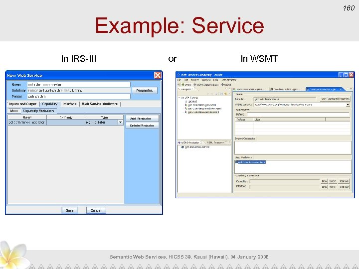 160 Example: Service In IRS-III or In WSMT Semantic Web Services, HICSS 39, Kauai