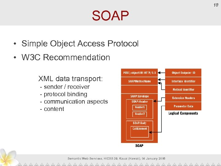 18 SOAP • Simple Object Access Protocol • W 3 C Recommendation XML data
