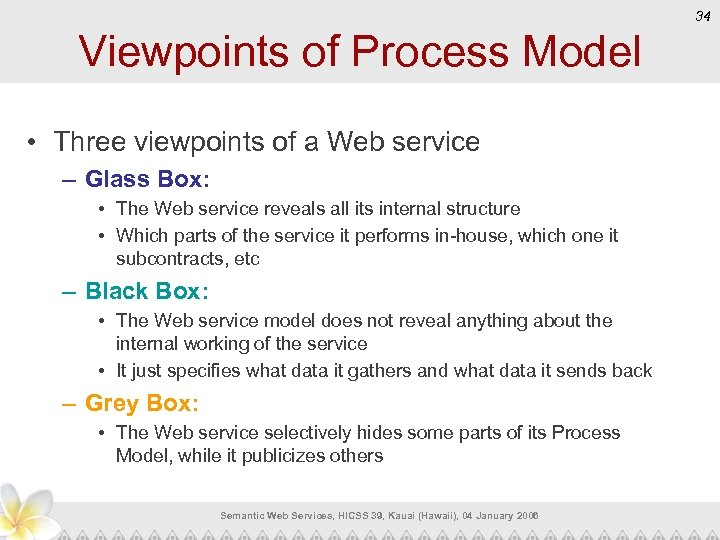 34 Viewpoints of Process Model • Three viewpoints of a Web service – Glass