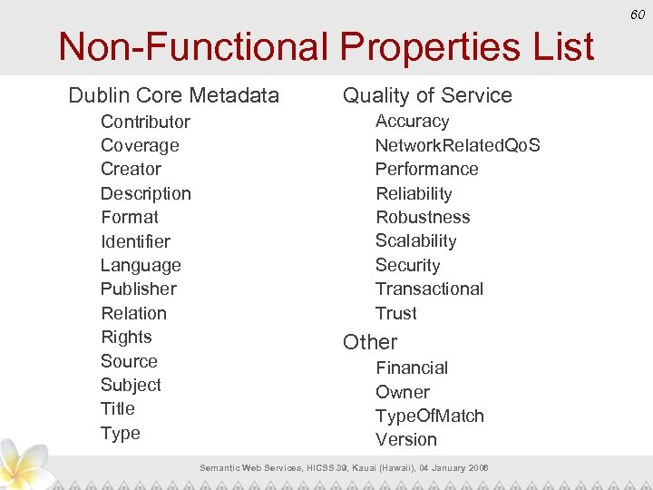 60 Non-Functional Properties List Dublin Core Metadata Contributor Coverage Creator Description Format Identifier Language