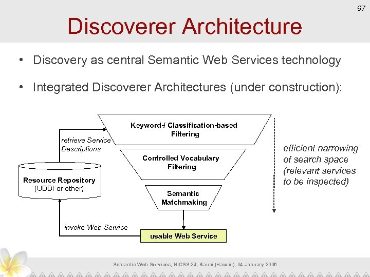 97 Discoverer Architecture • Discovery as central Semantic Web Services technology • Integrated Discoverer