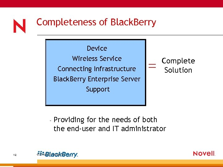 Completeness of Black. Berry Device Wireless Service Connecting Infrastructure Black. Berry Enterprise Server Complete