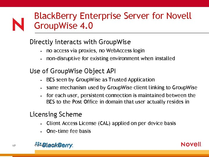 Black. Berry Enterprise Server for Novell Group. Wise 4. 0 Directly interacts with Group.