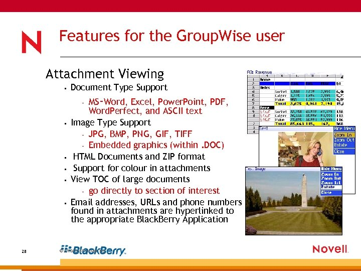 Features for the Group. Wise user Attachment Viewing • Document Type Support MS-Word, Excel,