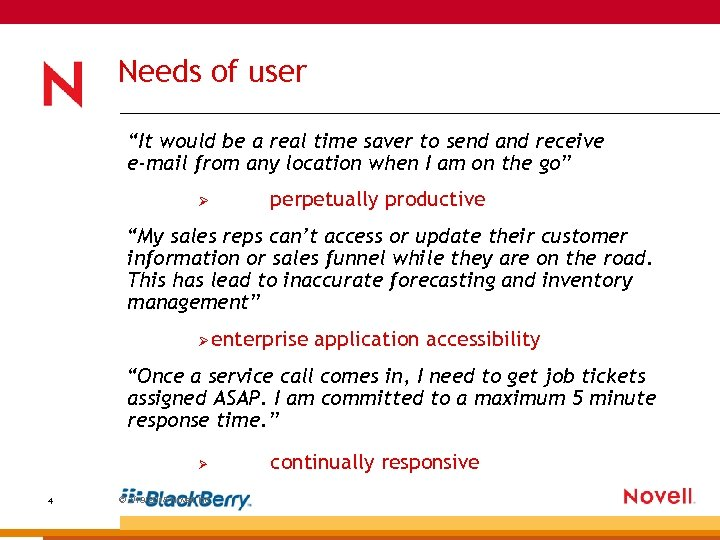 """Needs of user """"It would be a real time saver to send and receive"""