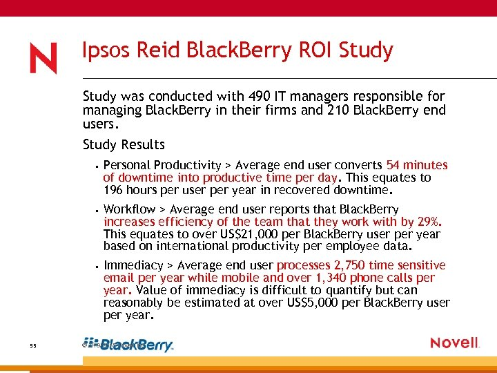 Ipsos Reid Black. Berry ROI Study was conducted with 490 IT managers responsible for